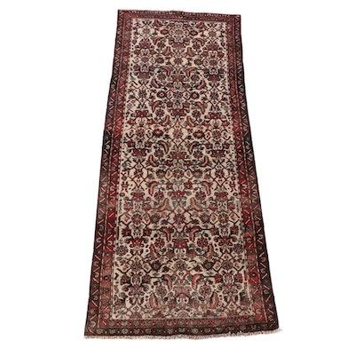 3'6 x 9'4 Hand-Knotted Persian Hamadan Wool Long Rug