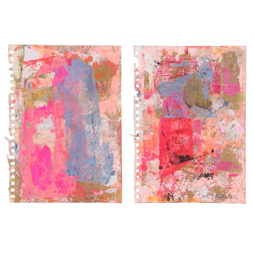 Janice Schuler Acrylic Paintings of Abstract Expressionist Compositions, 2017