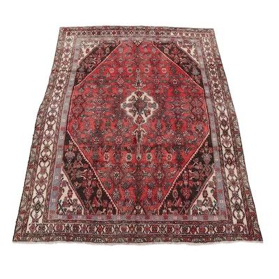 6'7 x 9'6 Hand-Knotted Persian Hamadan Herati Area Rug