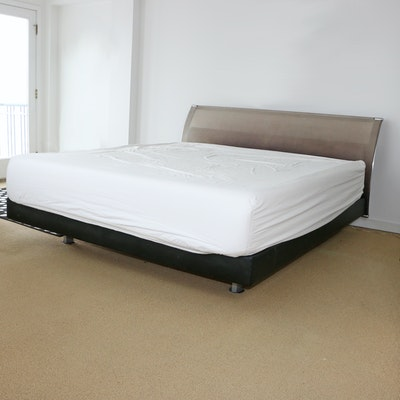 Modernist Style King Size Bed With Attachable Side Tables