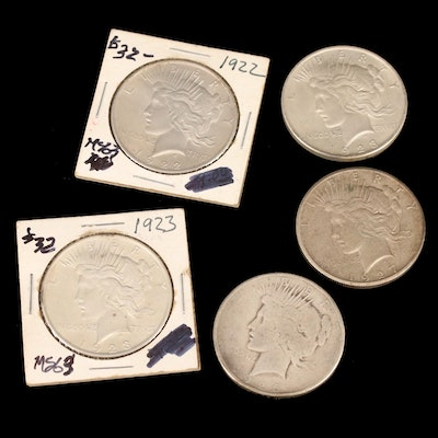 Five Silver Peace Dollars