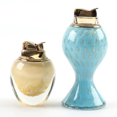 Murano Glass Gold Foil Accented Table Lighters, Mid- Late 20th Century
