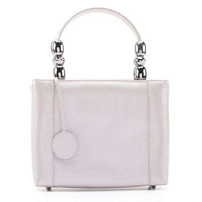 Christian Dior Malice Tote in Lavender Patent Leather with Beaded Top Handle