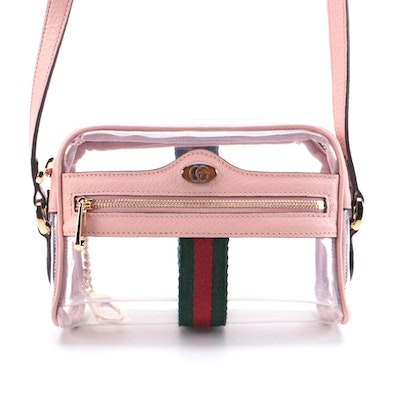 Gucci Ophidia Clear Crossbody with Pink Leather Trim
