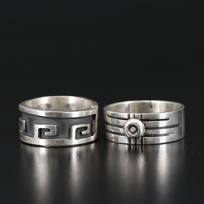 Sterling Silver Bands Featuring Meander Design