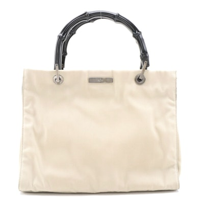 Gucci Two-Way Shopper in Ivory Canvas with Black Bamboo Top Handles