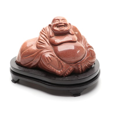 Chinese Carved Goldstone Glass Seated Budai with Wood Stand