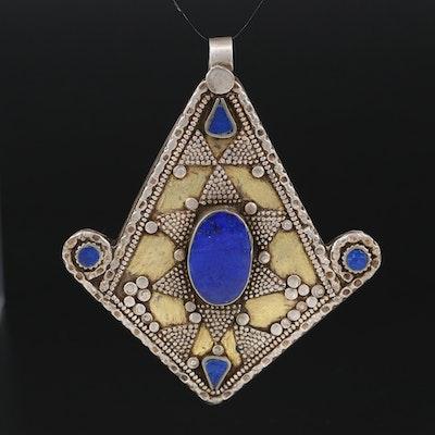 Tibetan Style 800 Silver Lapis Lazuli Inlay Pendant