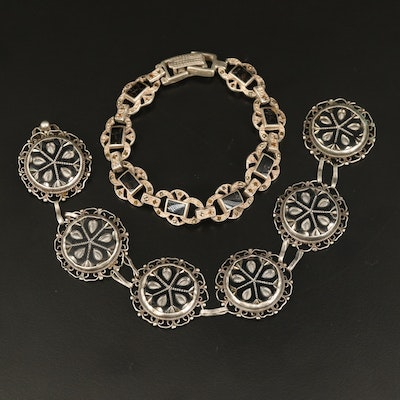 Vintage Sterling Bracelets Including Enamel, Marcasite and Glass