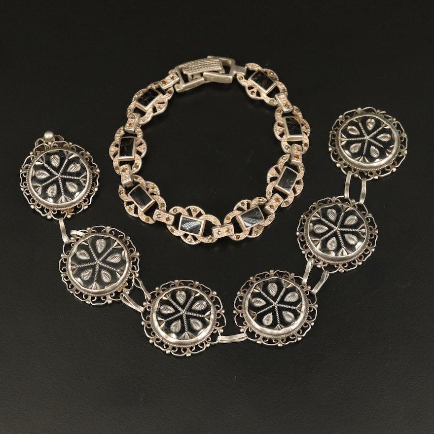Vintage Sterling Bracelets Including Enamel, Marcasite and Glass