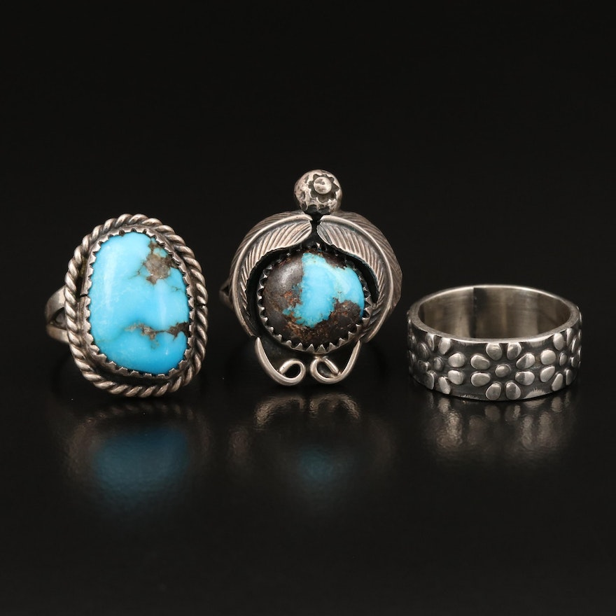 Sterling Southwestern Turquoise Rings and Floral Band