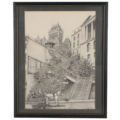 """Lithograph """"The Breakneck Stairs Old Quebec,"""" Mid-20th Century"""