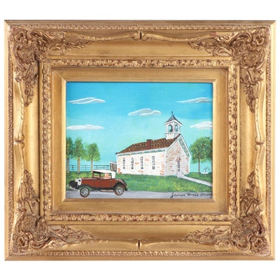 "Jim Roads Folk Art Acrylic Painting ""Rainsboro Methodist Church,"" 2009"