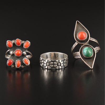 Sterling Rings Including Coral and Turquoise