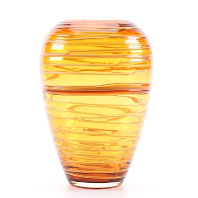 Amber Threaded Beehive Art Glass Vase, Mid to Late 20th Century