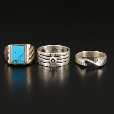 Sterling Silver Rings with Imitation Turquoise