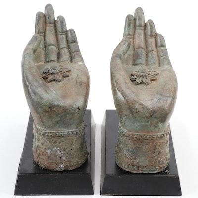 Buddhist Mudra Patinated Metal and Lacquerware Figurines, 21st Century