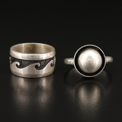Sterling Silver Rings Featuring Wave Motif