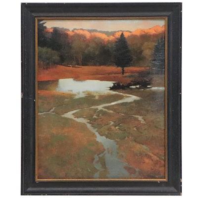 Landscape Embellished Offset Lithograph, 21st Century