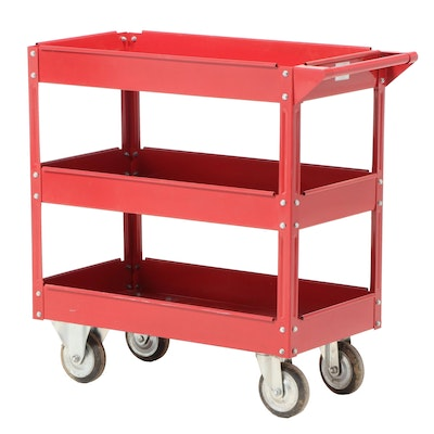Harbor Freight Red Powder-Coated Steel Three-Tier Cart