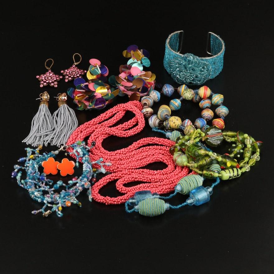 Lampwork Glass Bead, Rhinestone and Enamel Jewelry
