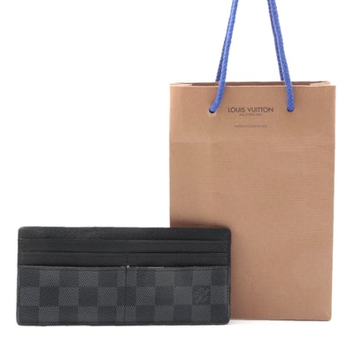 Louis Vuitton Long Card Case Wallet in Damier Graphite Canvas with Shopping Bag