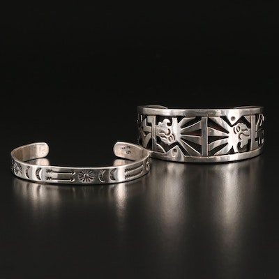 Mexican Sterling Arrow and Openwork Cuffs