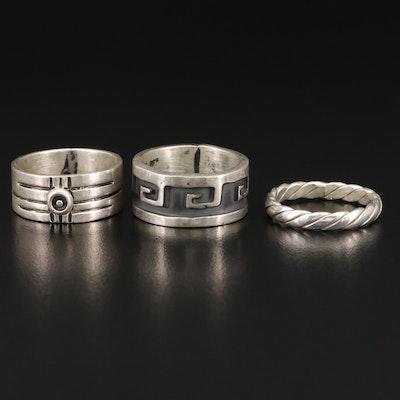 Sterling Silver Bands Including Greek Key Design
