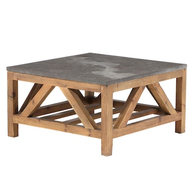 Arhaus Furniture Farmhouse Style Reclaimed Pine and Stone Top Coffee Table