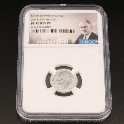 NGC Graded PF 70 2018-S Silver Reverse Proof Roosevelt Dime