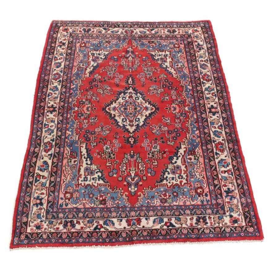 6'10 x 9'11 Hand-Knotted Persian Hamadan Area Rug