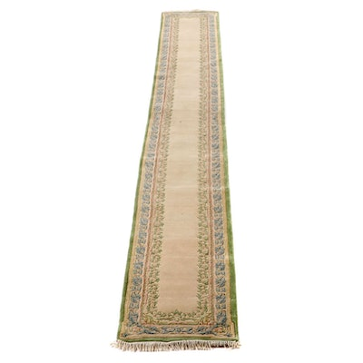 2'7 x 20'9 Hand-Knotted Indian Carved Pile Wool Carpet Runner