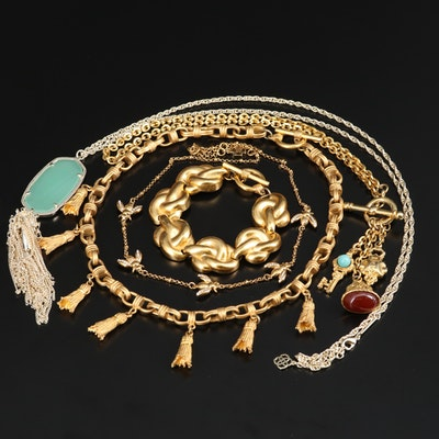 Jewelry Featuring Glass and Rhinestone Necklaces and Bracelet