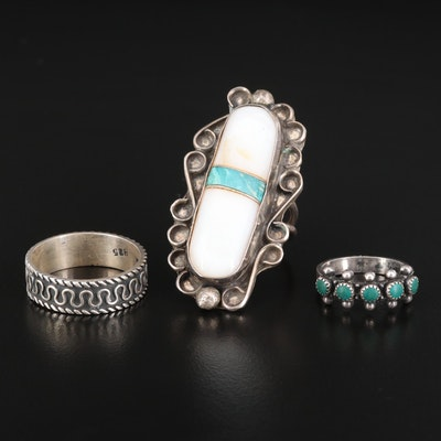 Sterling Silver Rings Featuring Turquoise, Mother of Pearl and Amazonite