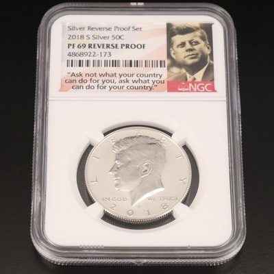 NGC Graded PF 69 2018-S Silver Reverse Proof Kennedy Half Dollar