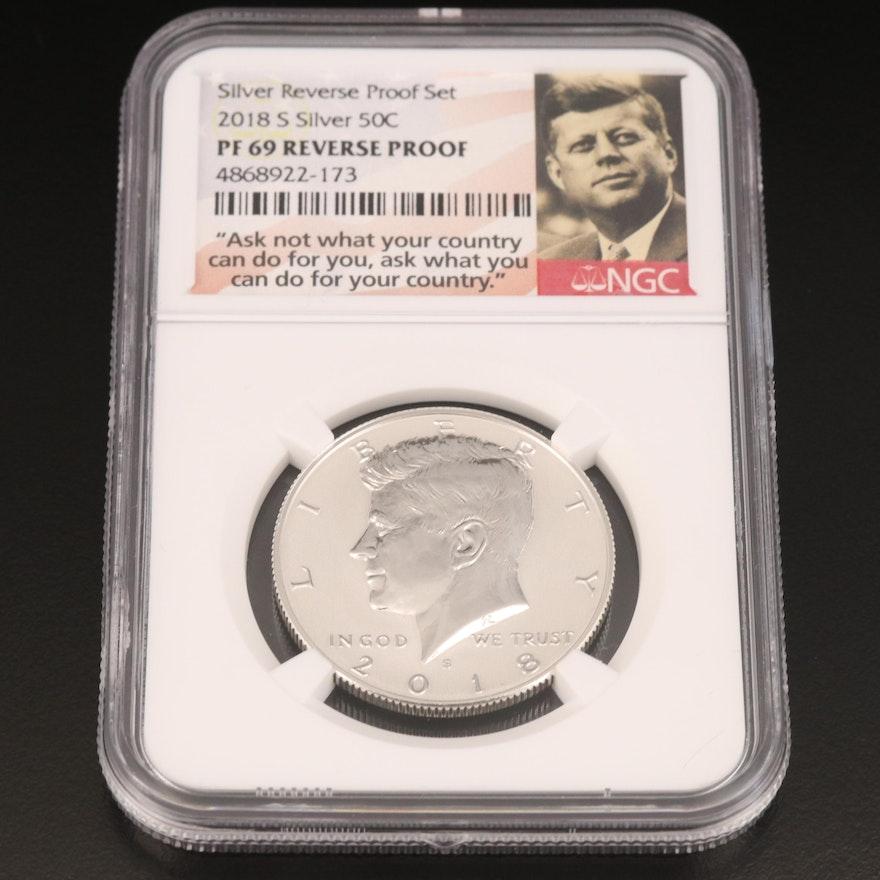 NGC Graded PF 69 2018-S Silver Reverse Proof Kennedy Half Dollar