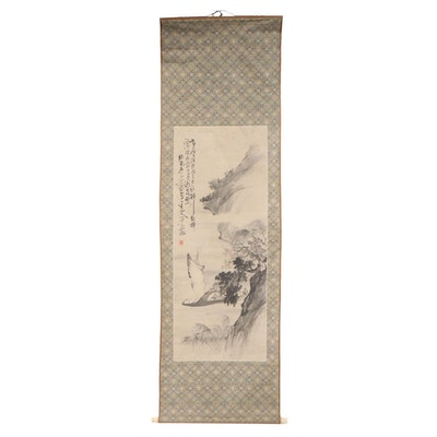 Chinese Ink and Watercolor Scroll Painting