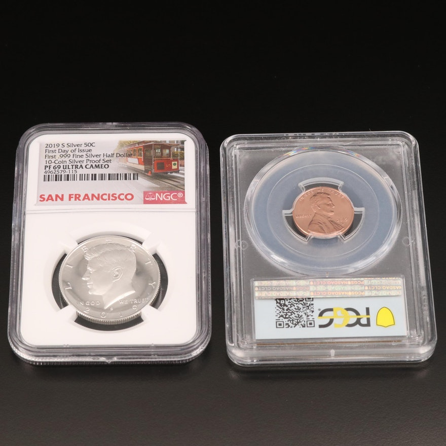 NGC & PCGS Slabbed U.S. Coins, Including .999 Fine Silver Kennedy Half Dollar