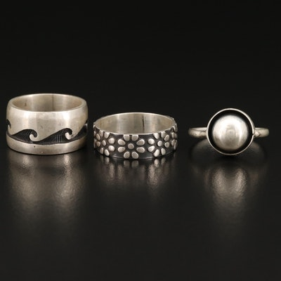 Sterling Silver Niello and Shadowbox Rings