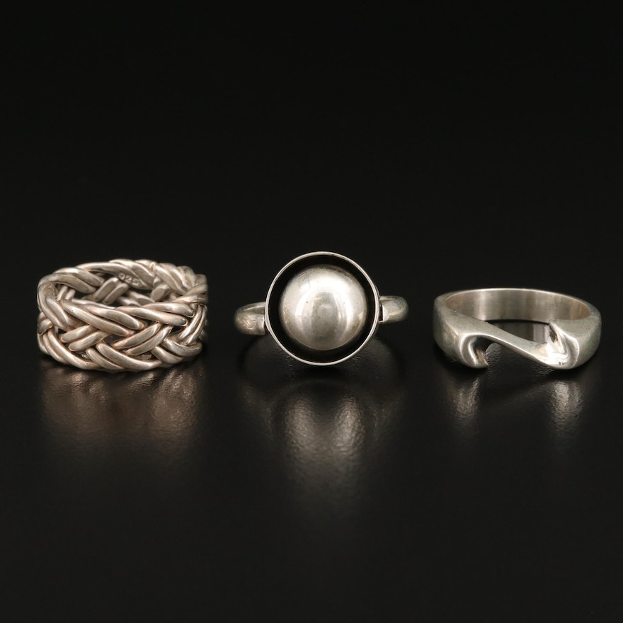 Sterling Silver Rings Featuring Domed and Woven Designs