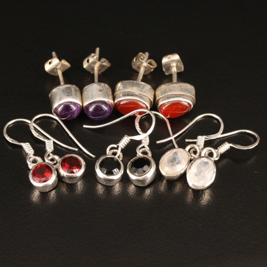 Sterling Stud and Drop Earrings Featuring Amethyst, Garnet and Labradorite