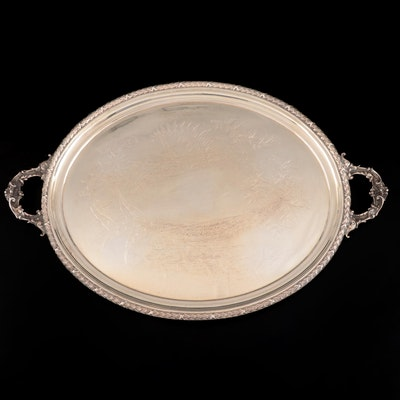 John Henry Potter of Sheffield Chased Silver Plate Tray, c. 1884–1940