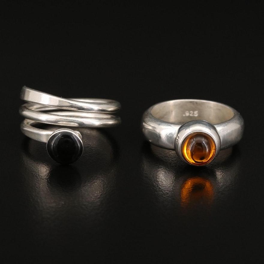 Sterling Silver Bezel Set Faux Gemstone Rings