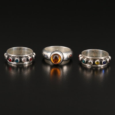 Sterling Rings with Bezel Set Cabochons