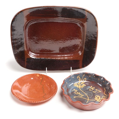 Turtle Creek Greg Neal Slip Decorated Bowl and Other Redware Pottery