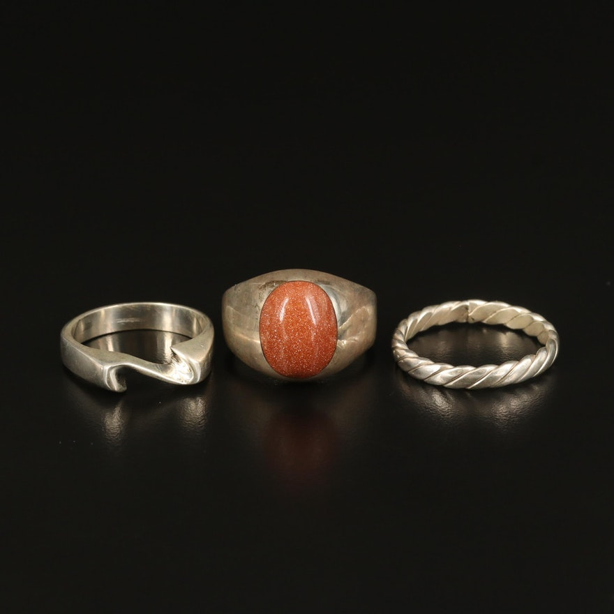 Sterling Goldstone Ring with Wave and Twisted Bands