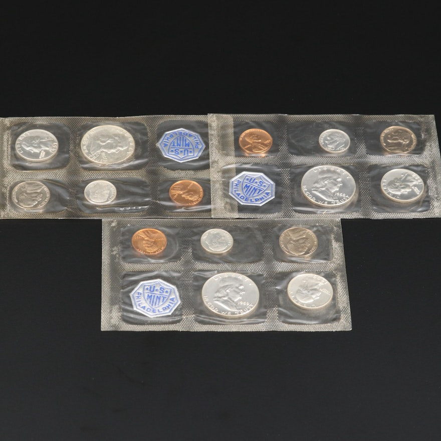 Three U.S. Mint Silver Proof Sets, 1950s