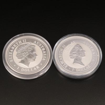 Two Australian 1-Oz. Kookaburra Silver Bullion Coins