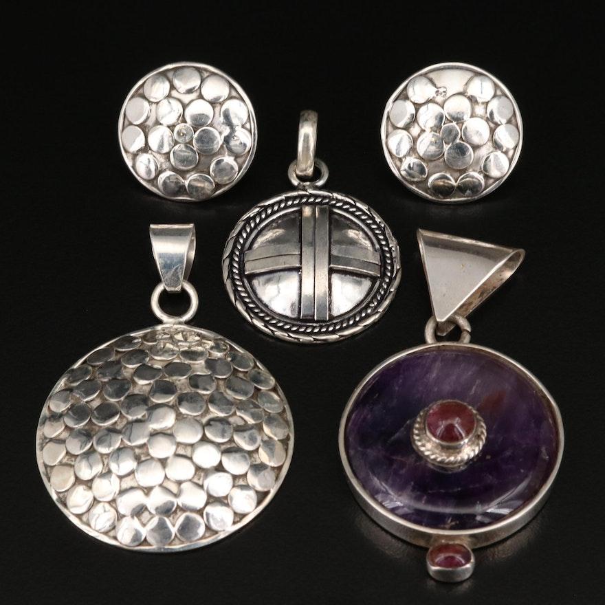 Sterling Pendants and Earrings Including Amethyst Slide Pendant