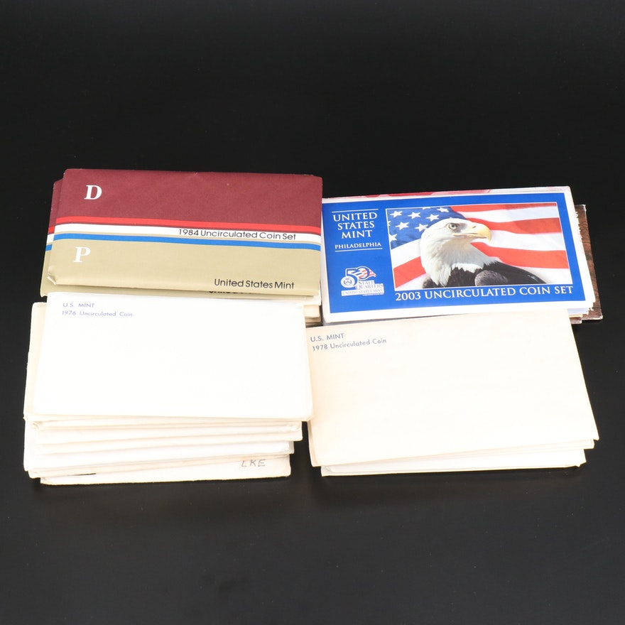 Thirty-Three U.S. Mint Full and Partial Uncirculated Sets